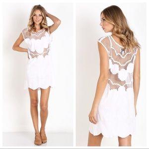 Cleobella off white echo crochet mini dress